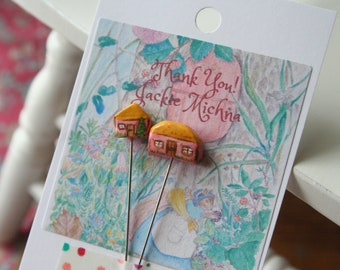 little house pin set, folk and rustic style