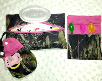 Camo Mossy Oak Breakup, Gift Set of Soft Wipes Case, Pacifier Pouch and Spoon Holder, Baby Gift Set, Camo Baby Gift Set, Soft Wipes Case