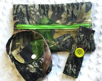 Soft Wipes Case, Pacifier Pouch and Spoon Holder Gift Set in Camo Mossy Oak Breakup,   Baby Gift Set, Camo Baby Gift Set, Soft Wipes Case