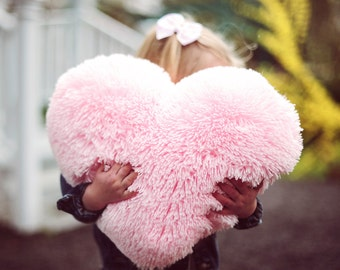 Fluffy Pink Heart Shaped Decorative Pillow Mother's Day Gift for Her - Small Size