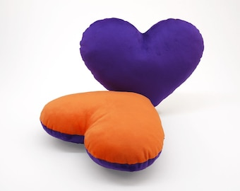 Purple and Orange Team Spirit Hug Heart Shaped Pillow 12x14 inches