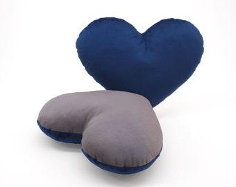 Silver and Dark Blue Team Spirit Hug Heart Shaped Pillow 12x14 inches