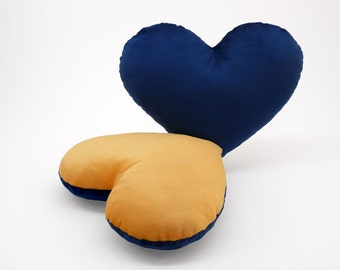 Dark Blue and Gold Team Spirit Hug Heart Shaped Pillow 12x14 inches