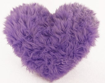 Lavender Faux Fur Heart Shaped Decorative Pillow Spring Easter Home Decor - Small Size
