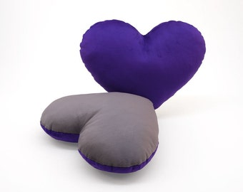 Silver and Purple Team Spirit Hug Heart Shaped Pillow 12x14 inches