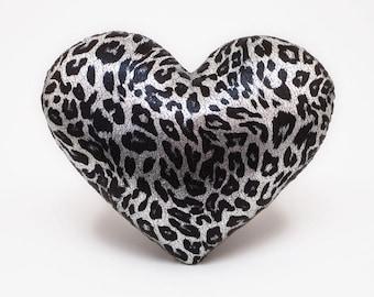 Leopard Print Silver Metallic Heart Shaped Decorative Pillow Valentine GIft