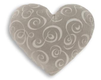 Silver Swirl Heart Shaped Decorative Pillow - Medium Size