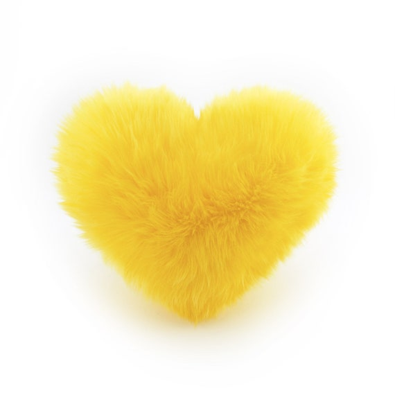 sunny yellow faux fur heart shaped decorative pillow small size