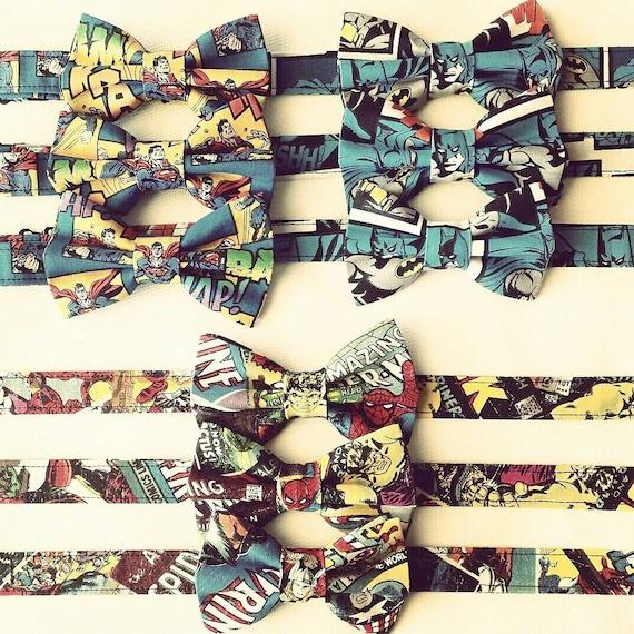 Groomsmen Bow Tie Set, Comic Bow Tie, Wedding Bow Tie, Superhero Bow Tie, Groomsmen Gift, Superhero Costume, Comic Bow Ties, Marvel Bow Tie