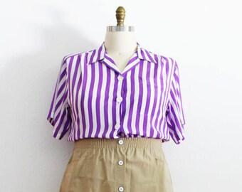 Plus Size - FINAL SALE - Vintage Purple & White Stripe Button Front Blouse (Size 14)