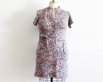 Plus Size - Purple & Pink Floral Belted Shirt Dress (Size 18)