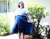 Plus Size - Vintage Blue Paisley Swing Skirt (Size 24W)