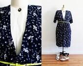 Plus Size - Vintage Navy & White Printed Shirt Dress (Size 14)