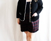 Plus Size - Vintage Black Metallic Detail Cardigan Sweater (Size 12/14)
