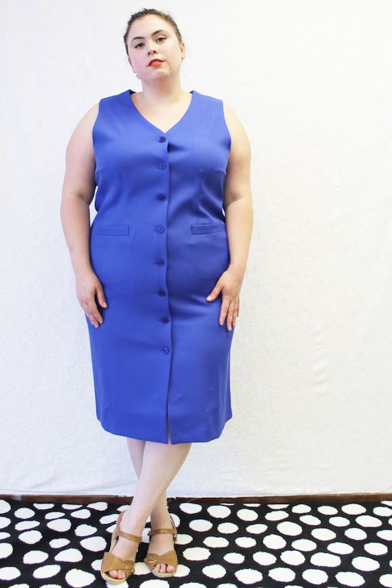 Plus Size - Vintage Royal Blue Sleeveless Button Front Jumper Dress (Size  18W)