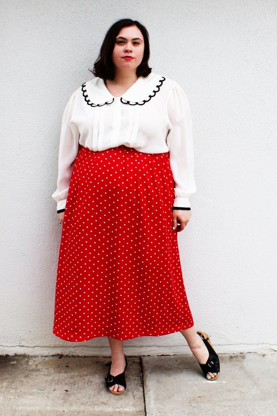 Plus Size - Vintage Red & White Polka Dot Midi Skirt (Size L 12/14)