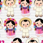 Mexican Maria rag dolls clipart, Pink and blue Set 198
