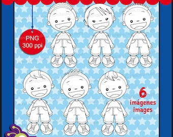 60% off Clipart Boys black and white, PNG images, kids clipart, boys illustrations, digital stamps Set 141