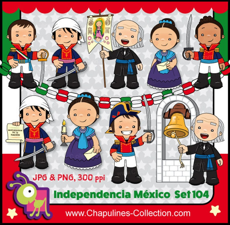 60 Desc Combo Clipart Independencia De México A Color Y En Blanco Y Negro Héroes De La Independencia 16 De Septiembre 1810 Set 126