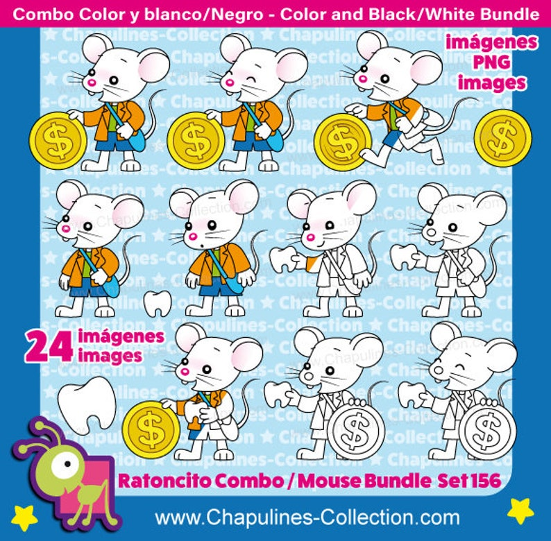 53b8c4b5d7ec 60% off The Tooth Mouse Clipart Bundle Color and Black White