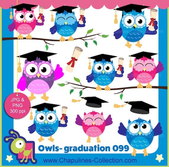 60 Off Graduation Owls Clipart Colorful Owls Images School Etsy
