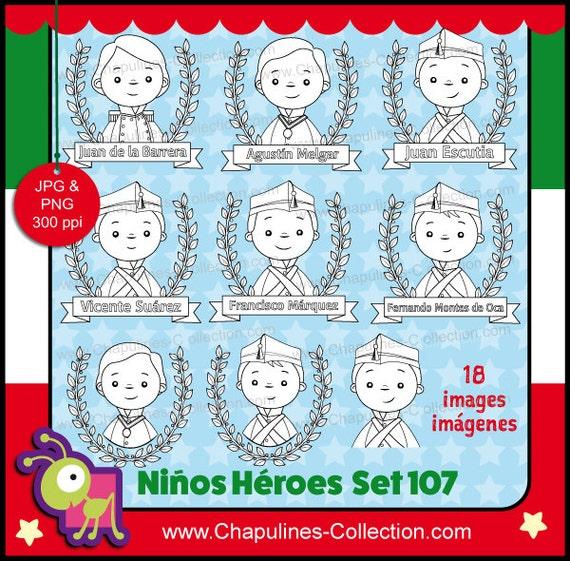 60 Desc Niños Héroes Clipart Ilustraciones Escuela Etsy