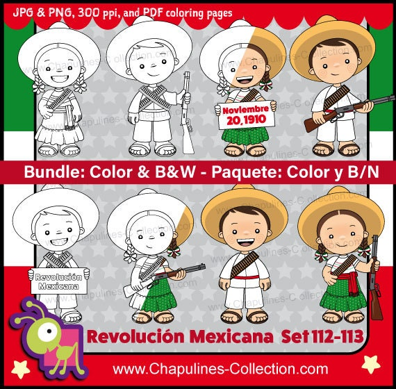 60% off Mexican Revolution Day Clipart Bundle Color and | Etsy