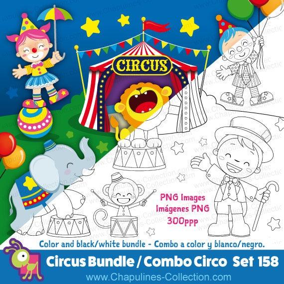 Circo Clipart Combo en color y blanco/negro payaso   Etsy