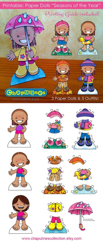 60 % de rabais sur Paper Dolls - imprimable - saisons de l'année - filles - couleur - Set 022