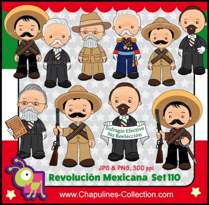 60 De Desc Combo Revolución Mexicana Clipart Color Y Blanco Y Negro Imágenes México Ilustraciones Revolución Mexicana Set 110 Y 111