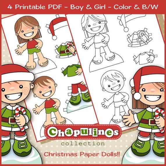 60% desc. Muñecos de Papel de Navidad Niño y Niña en Color y | Etsy