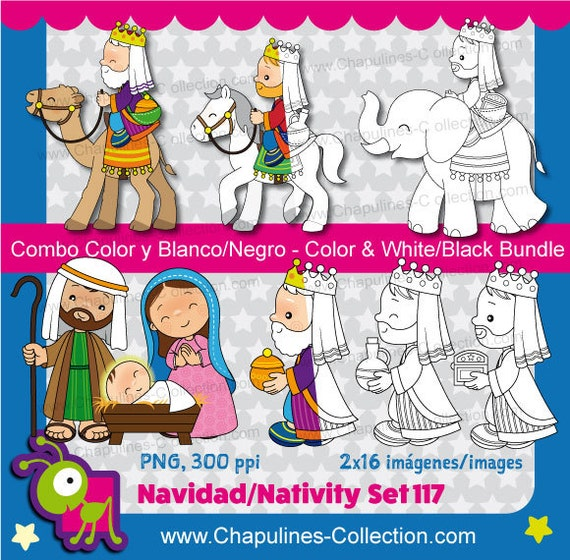 Nativity Clipart Bundle Color and Black/White Christmas | Etsy