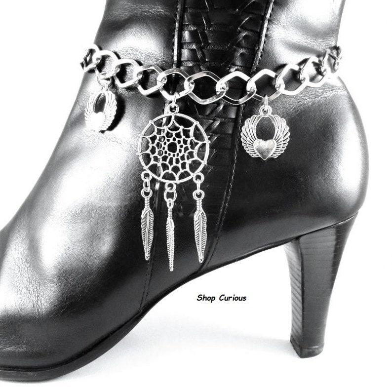 Dream Catcher Boot Chain Bracelet Bling Jewelry Sturdy Iron Chains Rocker Costume Jewelry Unique Indian Lore Punk Biker Rock South Western