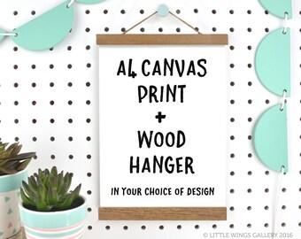 A4 Canvas Print with Wood Frame Hanger, Customised Islamic Art Print, Nursery Decor, Modern Islamic Wall Art