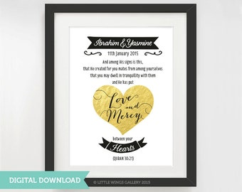 """Digital Download, Marriage Quran Quote 30:21""""…Created for you mates"""", Gold - D.I.Y Printable, Modern Islamic Wall Art"""
