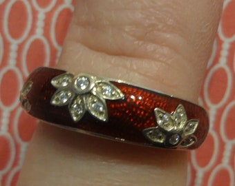 Silver Red Ring Cz Diamond Rhinestones 925 Sterling Ring Size 6 Birthday Gift Teen Girls Womens Band Anniversary Flowers Mom Sister Aunt