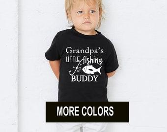 ce26e3ac1244b Grandpa's Little Fishing Buddy Boys Girls T shirt Lucky Fishing Tee Kids  Children's Youth Pole Hook Bait Summer Fun With Dad Grandpa Custom