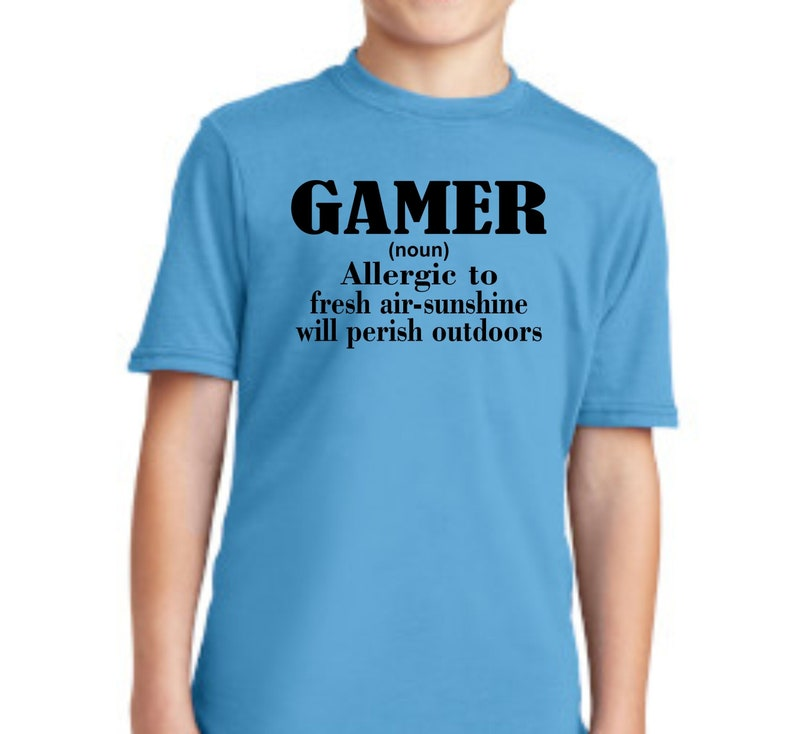 Gamer Noun Allergic to Fresh Air Sunshine T shirt Youth Kids Boys Girls Funny Tee Graphic Gaming Console Video Game Children/'s
