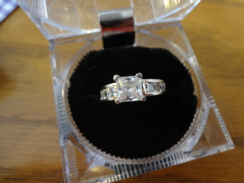 Ring Silver Diamond Wedding Engagement 925 Sterling Silver Size 7 Solitaire Bride Groom Wedding Band