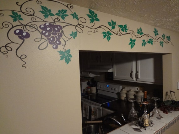 Grape Vine Decal Wine Home Decor Wall Art Sticker Kitchen Etsy