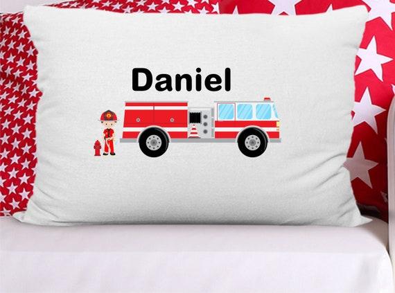 Toddler Pillowcase 19 x 15 Travel Pillowcase Camp Pillow Pillowcase Pillow Cover Fire Truck Pillowcase Handmade Fireman Pillowcase