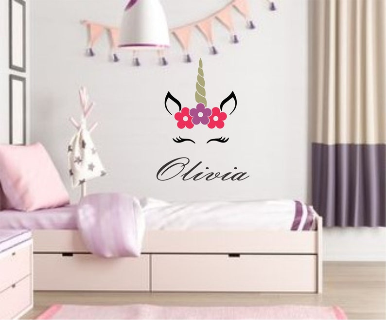 Unicorn Monogram Themed Room Girls Bedroom Vinyl Wall Decal Sticker Personalized Name Nursery Baby Home Decor Magical Playroom Fairytale Art