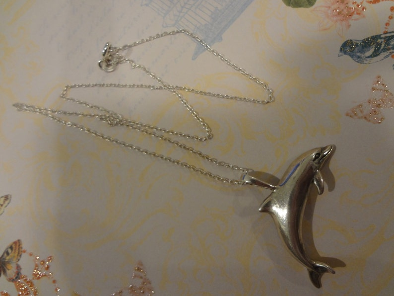 Silver Dolphin Necklace 925 Sterling Silver Fish Shiny Sterling Silver Fish Ocean Gift Birthday Anniversary Vacation Gift Beach Sun Fun Sand