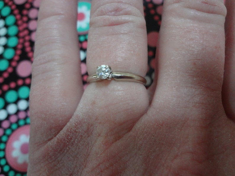 14k Diamond Solitaire Ring White Gold Engagement Ring Size 6 34 Promise Ring Gold Band Wedding Ring Bride Groom Solitaire Ring 6.75