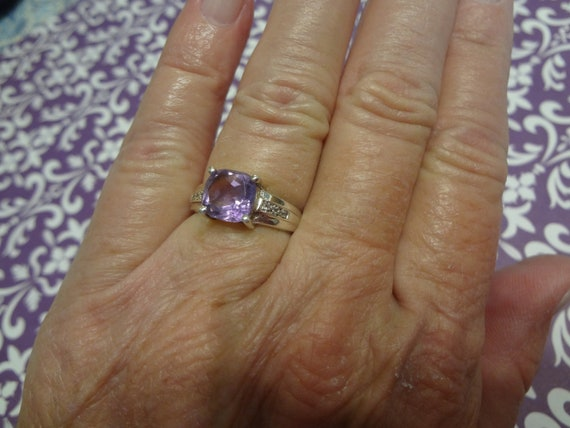 Silver Purple Ring Rhinestone Band Women S 925 Sterling Etsy