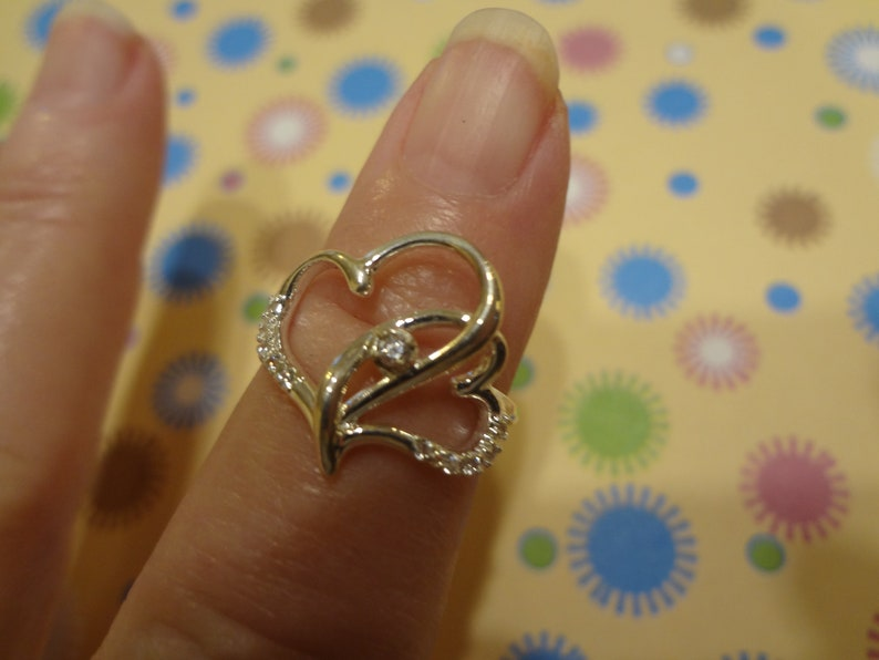 Silver Double Heart Ring 925 Sterling Silver Band Size 6 Birthday Gift Mom Gorgeous Gift Mom Daughter In Memory CZ Diamond Hearts Entwined