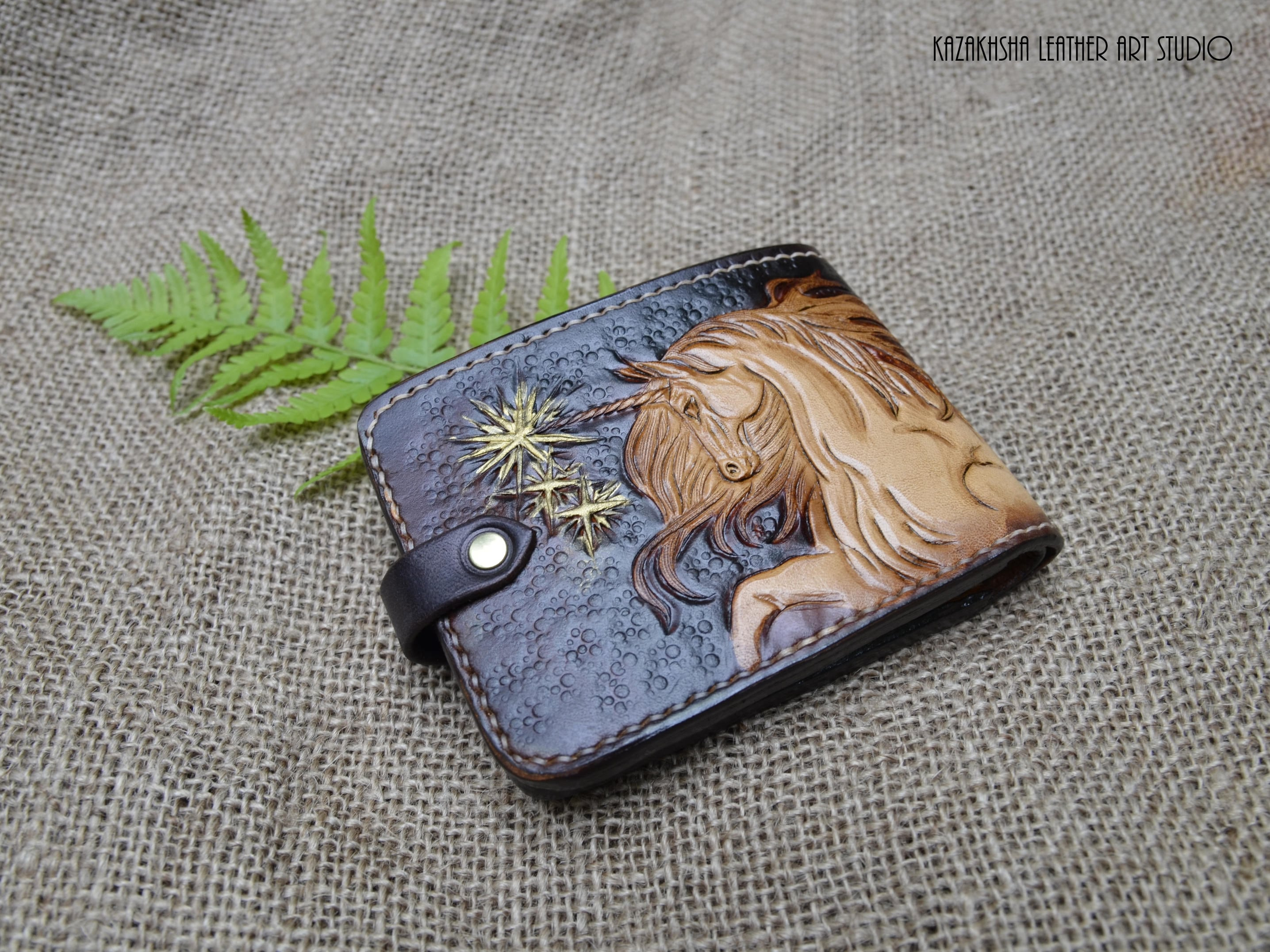 Unicorn With Starts Leather Wallet Lucky Star Unicorn