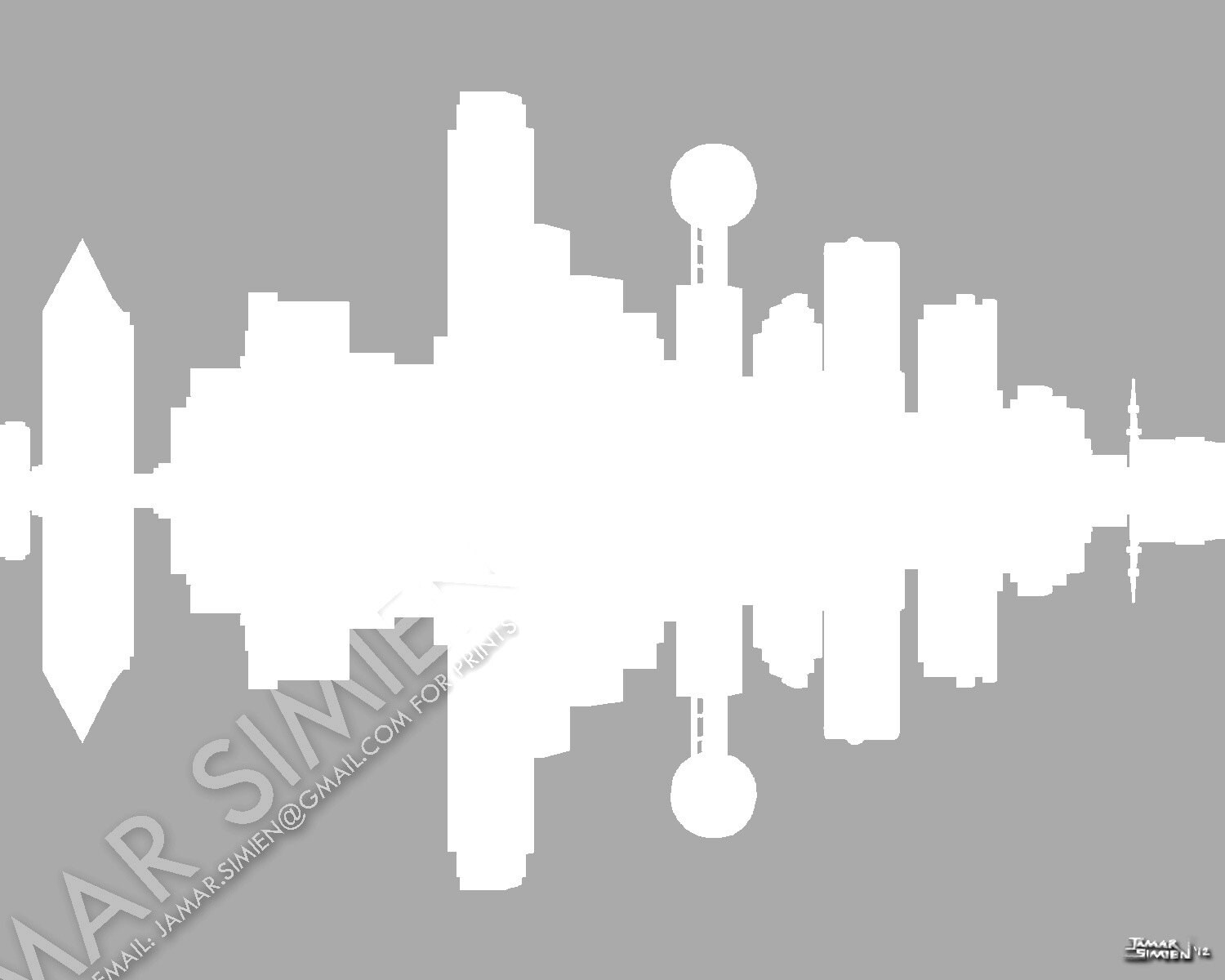 dallas texas silhouette city skyline digital art etsy