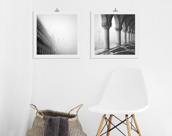 Print set of 2 art prints, Black and White Venice Photography Prints, Gifts Under 50 for Her,  Diptych, Italian Artwork, Housewarming Gift
