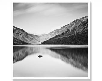 Black and White Irish Art Print, Glendalough Lake, Lake House Decor, Ireland Photography, Made In Ireland, Landscape Photography